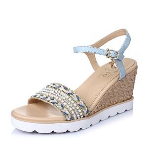 BASTO/百思图夏季专柜同款 山羊皮革/编织带女皮凉鞋TVQ03BL6