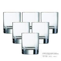家用钢化玻璃水杯六只套装直升杯子八角杯果汁杯啤酒杯茶杯