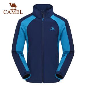 camel骆驼户外软壳衣 男款越野防风外套日常休闲保暖立领上衣