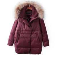 H冬新款韩版A版针织内胆假两件真毛领连帽加厚面包羽绒服90绒外套