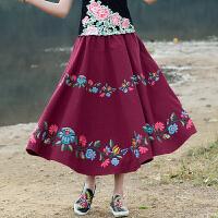 中国风女装半身裙长裙2018春装新款素麻民族风刺绣高腰显高半身裙
