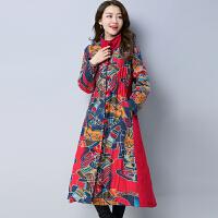 春装新款民族风女装长款拼接棉麻冬装加厚中长款棉衣外套