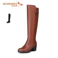 红蜻蜓冬季女靴子中跟粗跟真皮加绒保暖羊毛中长筒棉皮靴中筒靴