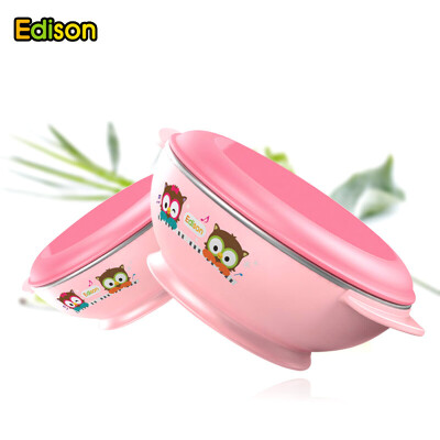 不锈钢辅食吃饭碗 宝宝餐具套装儿童碗可爱叉勺婴儿