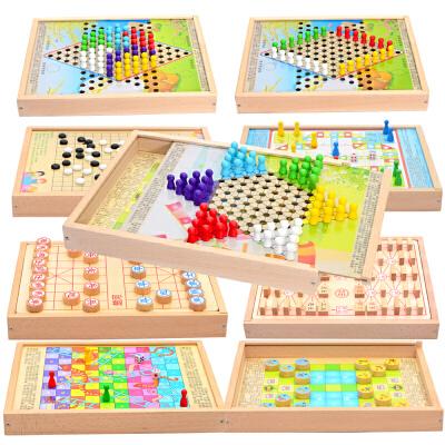 亲子互动桌游玩具木质飞行棋跳棋五子棋儿童游戏棋
