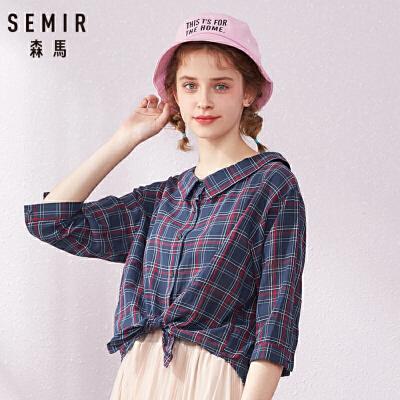 森马长袖衬衫女2019春季新款复古格纹衬衣学生翻领设计感宽松上衣
