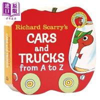 【中商原版】理查德・斯卡里作品:汽车和货车 Cars and Trucks from A to Z 异形书 纸板书 韵律