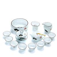 家用哥窑汝窑紫砂整套青花瓷陶瓷白瓷茶杯茶具套装