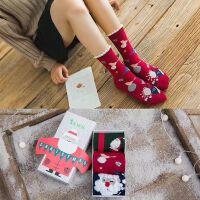 秋冬新款袜子女士中筒袜纯棉韩版学院风可爱韩国圣诞袜子礼盒袜