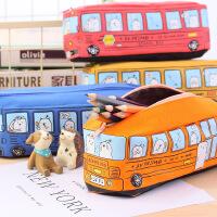 创意中小学生笔袋男儿童大容量卡通巴士汽车文具袋铅笔盒笔盒帆布