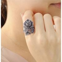 情人节礼物玫瑰花复古食指戒指女日韩仿泰银潮人夸张中指环饰品