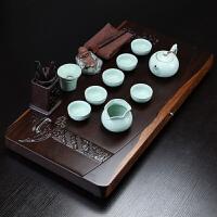 整套宜兴紫砂汝窑 公司开业乔迁搬家礼品 哥窑功夫茶具茶台 整块黑檀木茶盘茶具套装