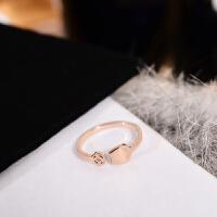 简约个性转运猫小指戒指女尾戒子钛钢镀玫瑰金时尚配饰品 尾戒(均码)