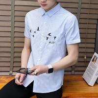 新款2018男士T恤夏季夏季新品韩版个性刺绣衬衫日系复古修身潮流