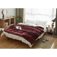 日式风法莱绒双层加厚毛毯单双人绒毯沙发毯子床盖毯珊瑚绒毯 酒红 毛毯