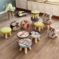 小凳子家用创意圆矮凳可爱儿童沙发凳实木椅子时尚卡通宝宝小板凳