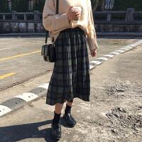 秋冬女装2017新款韩版复古百搭松紧腰呢子格子半身裙百褶裙中长裙