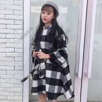 秋冬新款韩版甜美小清新格子绑带收腰显瘦七分袖呢子连衣裙女裙子
