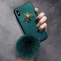 秋冬款挂绳iphone8plus手机壳复古XR闪粉7P苹果X全包边XS MAX银色iphone7个性6带毛球iphon