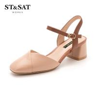 星期六(ST&SAT)春季羊皮革一字带粗跟方头时尚单鞋SS91114300