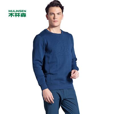 木林森男装 新款青年休闲圆领套头卫衣 复合长袖加厚舒适印花个性长T桖