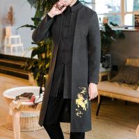 秋季毛呢大衣男士中长款韩版风衣青年休闲盘扣唐装立领汉服外套男