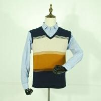 冬日暖阳 经典加绒假两件剪标男装加厚打底衫衬衫领保暖针织衫潮