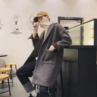 ins风衣男2018新款秋季韩版中长款潮流外套修身帅气毛呢子大衣男