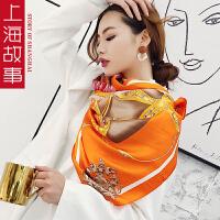 上海故事大方巾真丝女款百搭多功能超大桑蚕丝披肩90规格礼服披肩