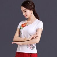中国风绣花女装短袖T恤女 民族风刺绣上衣夏装新款大码纯棉打底衫