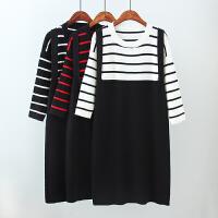 大码女装秋装款韩版条纹撞色假两件针织连衣裙胖MM九分袖短裙
