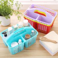 塑料收纳筐 洗澡篮收纳篮子手提浴室洗漱用品篮厨房菜篮子置杂物 红色