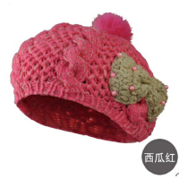时尚女童贝雷帽可爱宝宝蝴蝶结针织帽 儿童毛线帽子 适合2-5岁