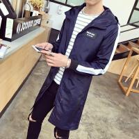 带帽风衣男韩版大码学生春装修身型帅气长款印花大衣薄款运动外套