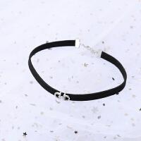 韩国项链女黑绳网红锁骨链短款脖子饰品颈带黑色颈链项圈