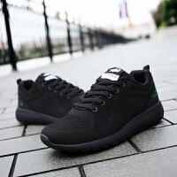 卡帝乐鳄鱼男鞋2018年秋季新款飞织透气网面男士运动休闲跑步鞋子黑色夏天帆布网鞋 …