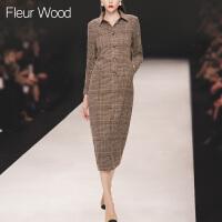 FLEUR WOOD2017秋季新款女欧美走秀款修身显瘦格子长袖连衣裙长裙