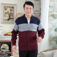 秋季男士毛衣针织衫开衫羊绒羊毛衫加厚加绒中年中老年人爸爸装