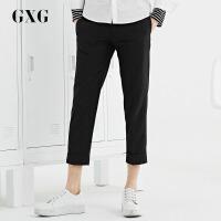 GXG休闲裤男装 秋季男士时尚青年气质休闲流行黑色修身九分裤男