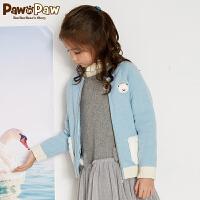 【3件4折 到手价:359】Pawinpaw卡通小熊童装冬女童加厚毛衣开衫圆领羊毛开衫