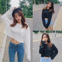 韩版秋季女装纯色百搭短性感露脐t恤女韩版复古白色长袖t恤上衣