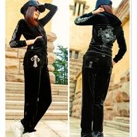 十字架天鹅绒套装女士秋季新款水钻时尚休闲潮流运动服 黑色