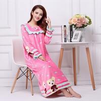 秋季珊瑚法兰绒女士加长款加厚甜美可爱大码公主睡裙睡衣家居服