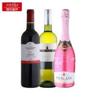 【1919酒类直供】经典热销葡萄酒组合装拉菲传说波尔多红葡萄酒巴黎之夜桃红起泡葡萄酒,金水滴白葡萄酒