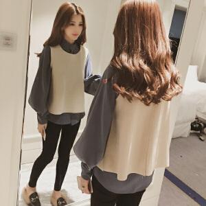 哆哆何伊2018春装新款韩版无袖马甲+灯笼袖宽松衬衫两件套女套装