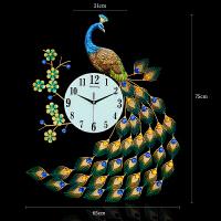 欧式创意石英钟钟表孔雀挂钟客厅中国风时钟电子钟静音夜光 26英寸