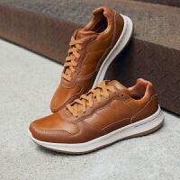 斯凯奇Skehers男鞋新款绑带软底皮鞋拼接舒适美式休闲鞋男