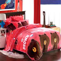 加厚狐绒四件套珊瑚绒法莱绒毛毯床裙款床单笠被套1.8m米床