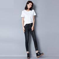 蓝2017新款高腰牛仔裤女秋季黑色长裤修身显瘦弹力小脚铅笔裤