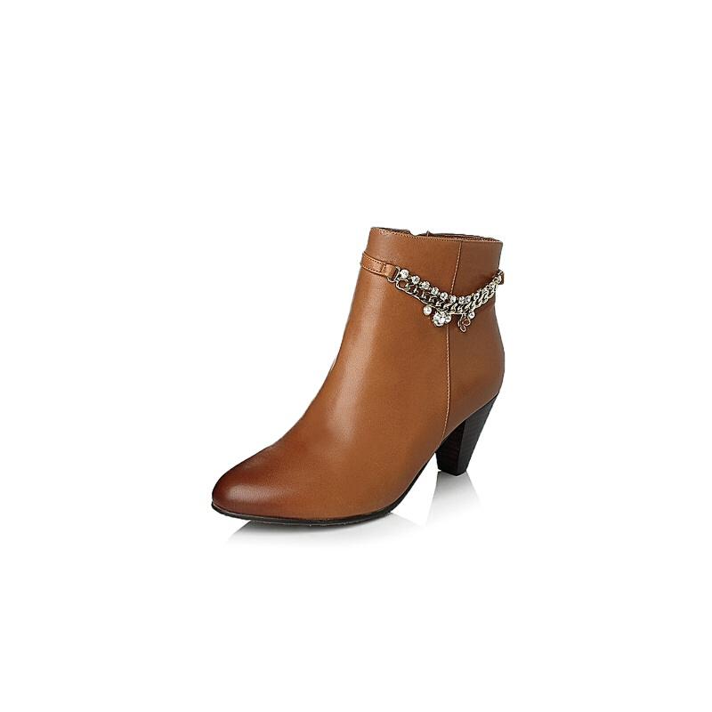 女鞋 靴子 森达靴子 senda/森达专柜同款羊皮女短靴4oa44dd4图片